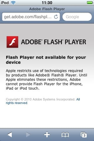 Flash error screen