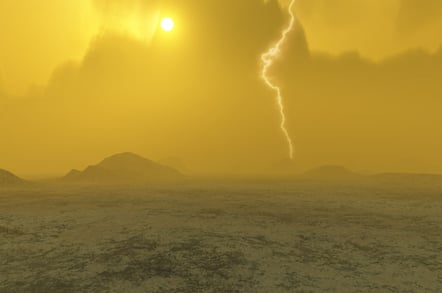 Concept art showing lightning strike on Venus. Credit: J Whatmore