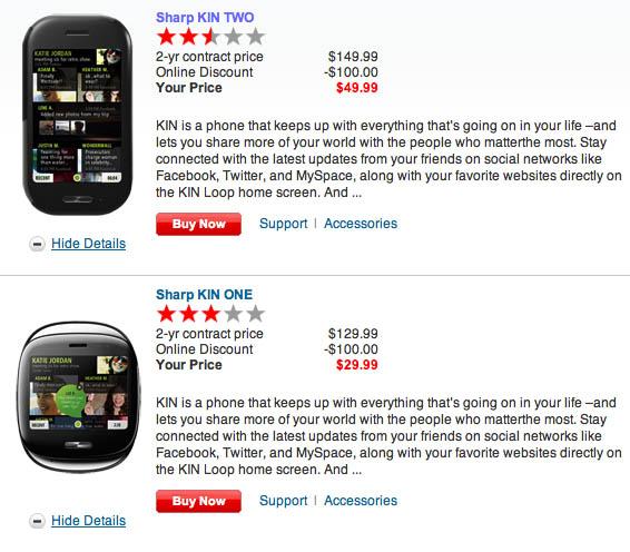 Verizon cuts Kin prices