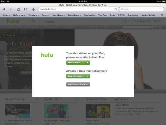 Hulu to charge $10 for iPad and Playstation 3 TV • The Register