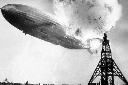 The Hindenburg, on fire and doomed above Lakehurst