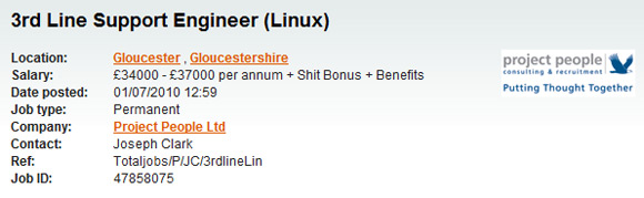 3rd Line Support Engineer (Linux): £34000 - £37000 per annum + Shit Bonus
