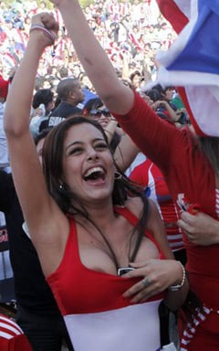 Larissa Riquelme lends her considerable support to Paraguay