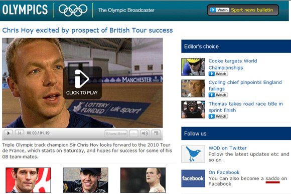 "BBC Olympic website inviting readers to ""become a saddo on Facebook"""
