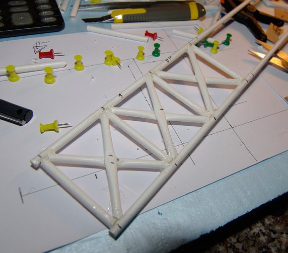 Beginning construction of the floor of the fuselage