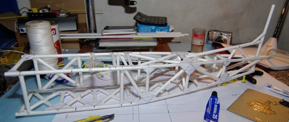 The fuselage structure complete, with joint braces