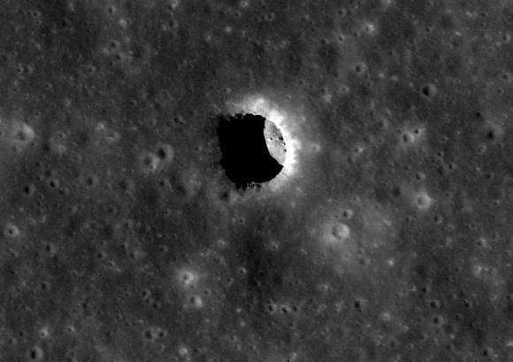 Pit crater in the Mare Tranquillitatis. Credit: NASA/GSFC/Arizona State University