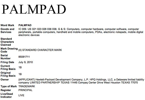 HP Palmpad trademark filing
