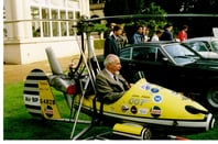 The 'Little Nellie' autogyro used in the Bond film 'You Only Live Twice', with designer Ken Wallis at the controls