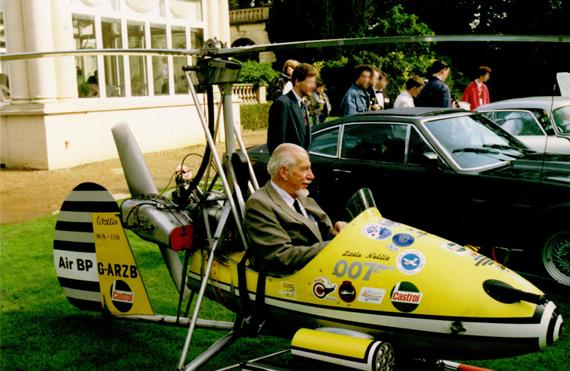 The Little Nellie autogyro as used by James Bond, with designer Ken Wallis at the controls
