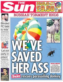 Today's Sun front page, featuring donkey rescue piece