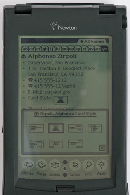 Newton MessagePad 120 - card-choice screenshot