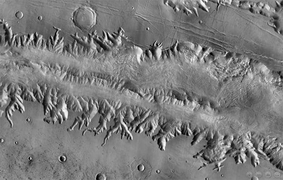 The Valles Marineris, as seen on NASA's new Mars map