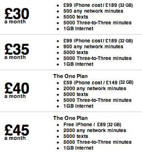 Three Mobile iPhone 4 Tariffs