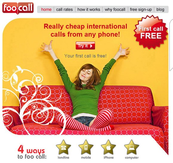 Screen grab of foocall's website