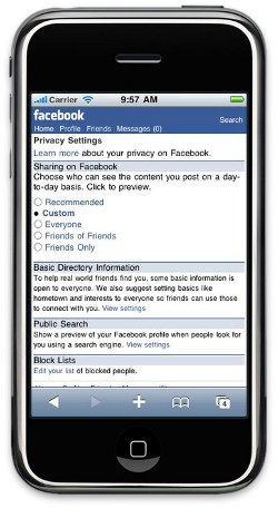 Facebook-supplied security screen