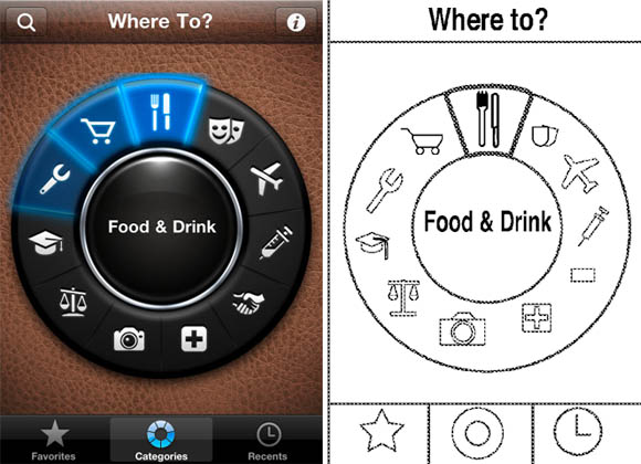 Comparison of FutureTap app and Apple's patent illustration