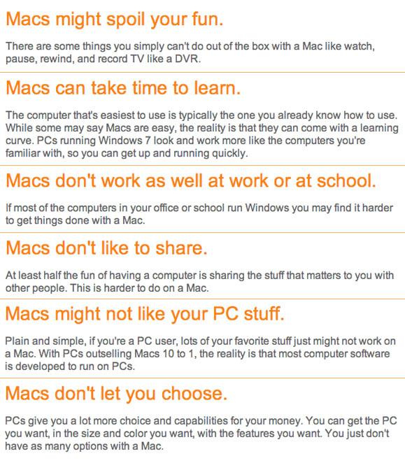 Microsoft's 'Deciding between a PC and a Mac?' ad headers