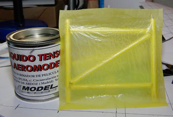 Test skin on frame sealed with shrinking dope