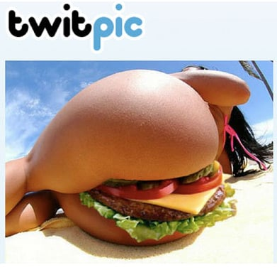 A burger wedged between a sunbathing woman's buttocks
