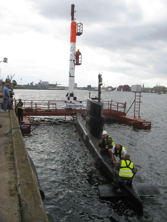 HEAT on its launch platform with submarine docked alongside