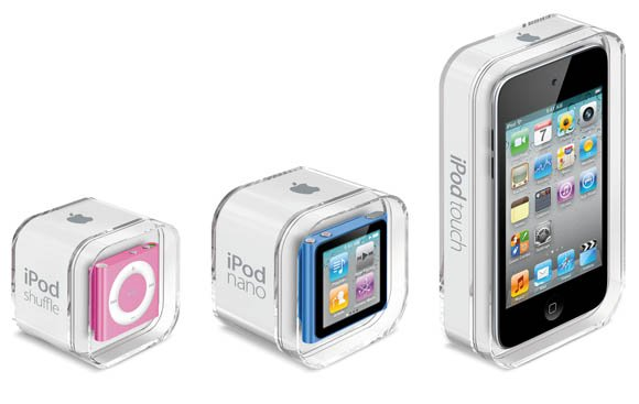 The three new iPods in their new packaging