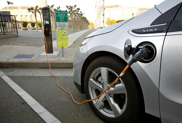 A Chevrolet Volt charging up. Credit: GM
