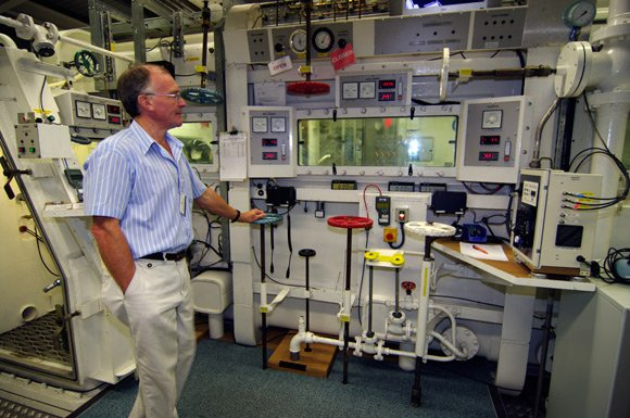 Chas Taylor at the controls of the hypobaric chamber