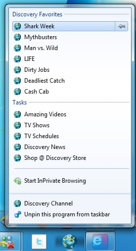 Jump Lists in IE9 beta