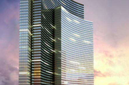 Artist's rendering of the concave Vdara hotel