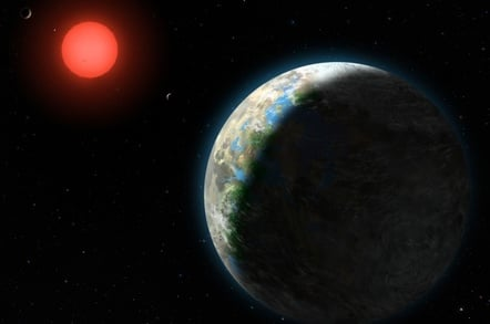 Artist's conception showing the inner four planets of the Gliese 581 system. GJ 581g, potentially habitable, is in the foreground. Credit: Lynette Cook/NSF
