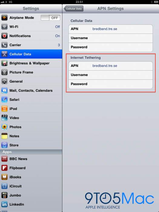 iPad tethering option