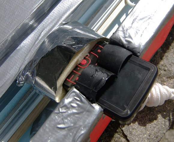 The Kodak Zx1 mounted through the wall of the main payload box