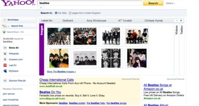 Yahoo search results refined