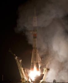 The Soyuz launches from Baikonur Cosmodrome. Pic: NASA