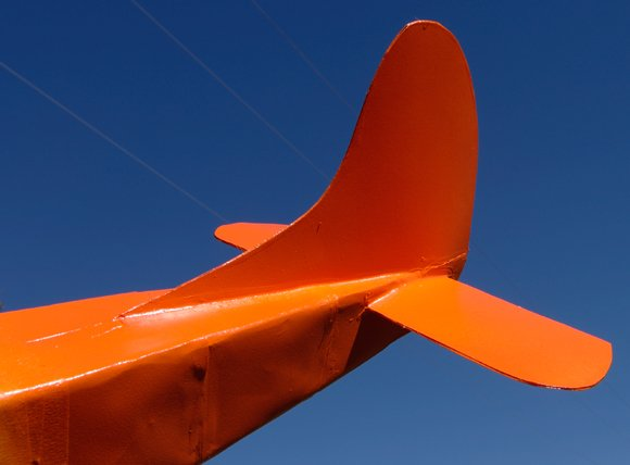 The tail is painted a striking orange