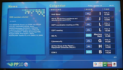 ITU schedule board