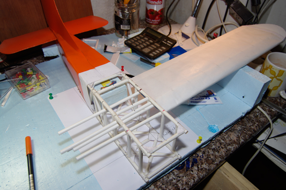 One wing offered up to the fuselage