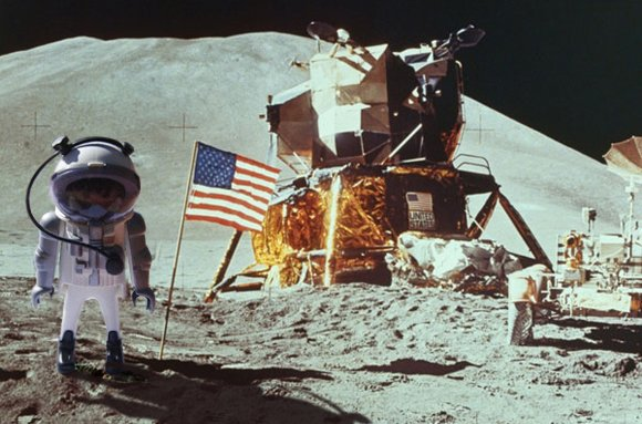 Our man standing on the Moon