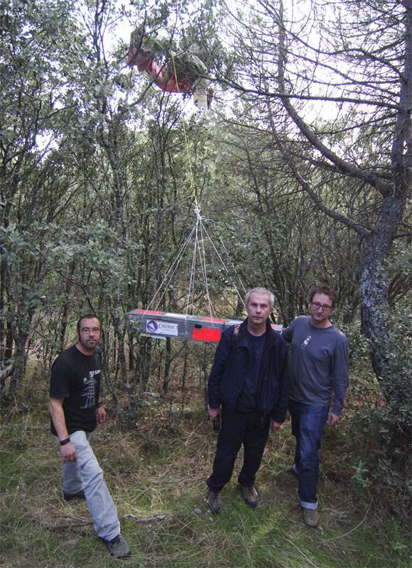 The recovery team with the main payload