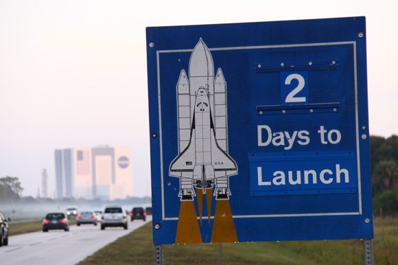 Sign counting down to the final launch of Shuttle Discovery. Credit: NASA