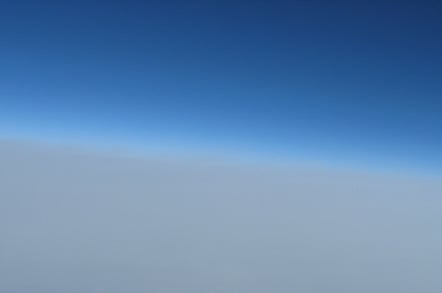 The last Canon shot, above the clouds, showing the edge of space