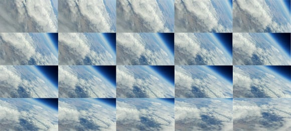 Montage of video frames showing the edge of space