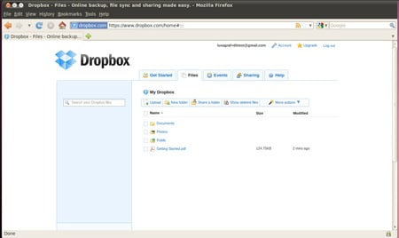 Dropbox web front end