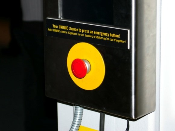 Big red button in the ATLAS experiment building