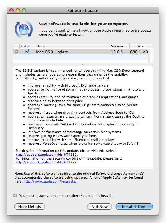 Mac OS X 10.6.5 update notice