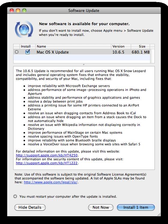Mac OS X 10.6.5 update notice