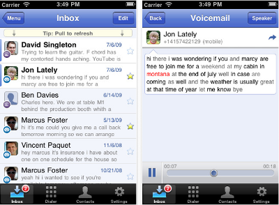 Google Voice Screen Shot