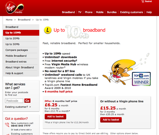 Virgin Media 10Mb