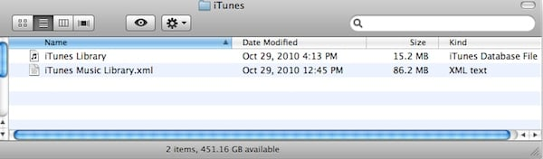 Screen capture of iTunes files